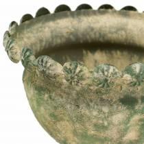 Decoratief kopje antiek-look metaal mosgroen Ø13cm H14.5cm