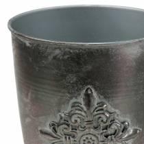 Decoratieve metalen beker met ornament zilvergrijs Ø16.5cm H31cm