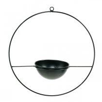 Bloempot voor het ophangen van zwarte metalen ring Ø38cm met schaal Ø15cm