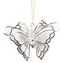 Metalen vlinder om op te hangen wit 7cm 6st