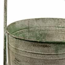 Metalen standaard met plantkommen grijs, groen H68cm
