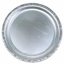 Decoratief bord metaal zilver glanzend Ø36cm H3cm