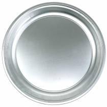Metalen plaat basic zilver glanzend Ø45.5cm H4cm