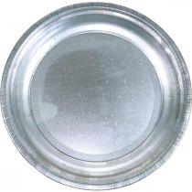 Sierbord, arrangement onderlaag, metalen bord zilver, tafeldecoratie Ø26cm