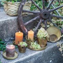 Metalen bord voor decoratie, tafeldecoratie, kaarsenplateau rond gouden antieke look Ø7.5 / 10/12/15 / 18cm H2cm set van 5