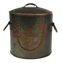 Metalen pot met deksel Ø17.5cm H20.5cm