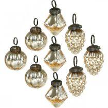 Mini boomballen, diamant / bal / kegel, boomkleden mix antiek-look Ø3–3.5cm H4.5–5.5cm 9st
