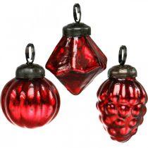 Mini boomdecoratie mix, diamant / bol / kegel, glazen bollen antiek-look Ø3–3.5cm H4.5–5.5cm 9st