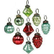 Mini kerstboom ballen mix, diamant / bol / kegel, glazen bollen antiek look Ø3–3.5cm H4.5–5.5cm 9st