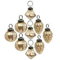 Mini glazen bol mix, diamant / bol / kegel, boom decoraties, antiek look Ø3–3.5cm H4.5–5.5cm 9st