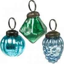 Mini glazen bol mix, diamant / bol / kegel, kerstboomversiering antiek look Ø3–3.5cm H4.5–5.5cm 9st