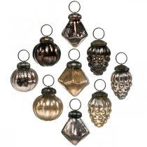 Mini kerstballen, diamant / bal / kegel, glazen hangers mix antiek look Ø3–3.5cm H4.5–5.5cm 9st