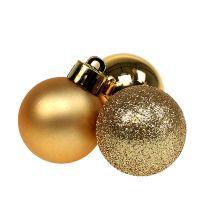 Mini kerstbal goud Ø3cm 14st