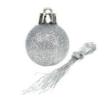 Mini kerstbal zilver Ø3cm 14st