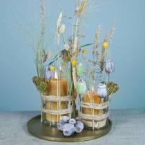 Kunstmatige papaver capsules geel, bruin 6st