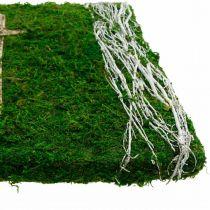 Mos foto wijnstokken en kruis voor graf arrangement groen, wit 40 × 30cm