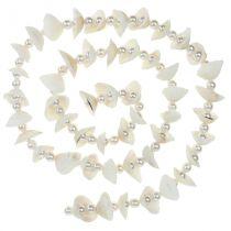 Schelpenslinger met parels wit 100cm