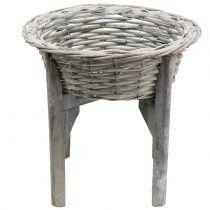 Mandkom met houten standaard grijs, wit gewassen Ø40cm