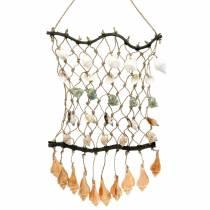 Decoratief net om op te hangen met natuurlijke schelpen 25 × 45cm