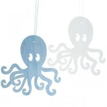Octopus om op te hangen blauwe, witte houten octopus Maritieme zomerdecoratie 8st
