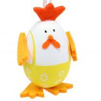 Geschilderd ei als een haan om op te hangen in een mix van 7,5 cm 12 stks