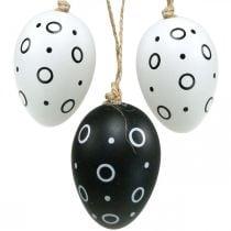 Paaseieren met ringen en stippen, lentedecoratie, monochrome paasdecoratie 6st