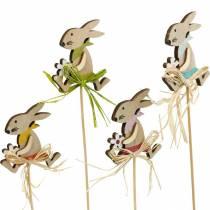 Paashaas met bloem, konijntjesdecoratie voor Pasen, konijn op een stokje, lente, houten decoratie bloemplug 12st