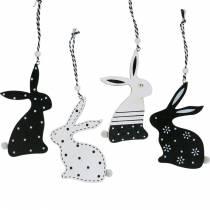 Paashaas om op te hangen zwart en wit houten decoratie konijn paasdecoratie 12st