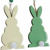 Paashazen om op te hangen, lenteversieringen, hangers, decoratieve konijntjes groen, wit 3st