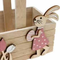 Paasmandje met konijntjes Paasdecoratie om op te hangen Paasmandje lentedecoratie 2st