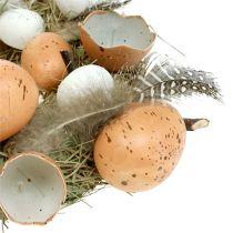 Paaskroon met eieren Ø24cm naturel, wit