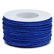 Papieren koord met draad omwikkeld Ø2mm 100m blauw