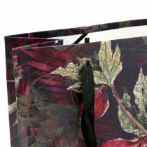 Geschenktas bloemen goud 18cm x 8cm H24cm