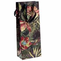 Geschenktas voor flessen met bloemen van 8,5 cm x 14 cm H36 cm