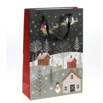 Geschenkzak papieren zak kerstdorp H30cm 2st