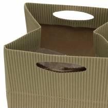 Papieren zak bloempot plantenbak naturel, grijs 10,5 cm 12st