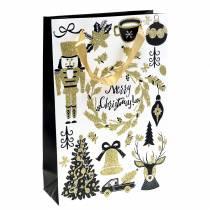 """Geschenkzak papieren zak """"Merry Christmas"""" goud glitter H30cm 2st"""
