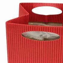 Papieren zak bloempot plantenbak rood 12cm 12st