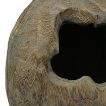 Decoratieve sculptuur plantenbal gemaakt van Paulownia hout H68cm