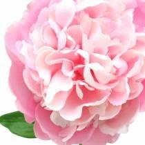 Pioenroos kunstbloem met bloesem en knop roze 68cm