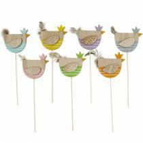 Plant plug kip kleurrijke decoratie plug hout hen paasdecoratie 14st