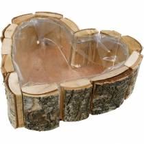 Plantenbak, hartvormige houten schaal, berkenhouten plantenbak, hartvormige schaal 27 × 28cm