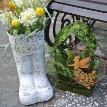 Plantenbak laarzen honingbij metaal wit vintage tuindecoratie H31cm