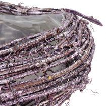 Plantenhart gemaakt van bramen wijnstok gewassen wit 27cm x 24cm