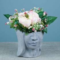 Plantkop buste van beton voor planten grijs H14,5cm 2st