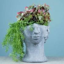 Plantkop buste van beton voor planten grijs H23,5cm