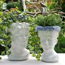 Plantkop buste vrouw witte keramische vaas bloempot H22.5cm