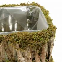 Plantmand hoekig mos, schors 34 × 15,5 / 24,5 × 11cm, set van 2