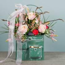 Plantenzak met handvat metaal groen, wit gewassen H20cm