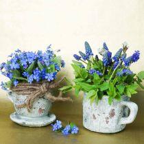Bloempot plantenbak kop en schotel vintage grijs, natuurlijke klei Ø8cm H6.5cm 4st